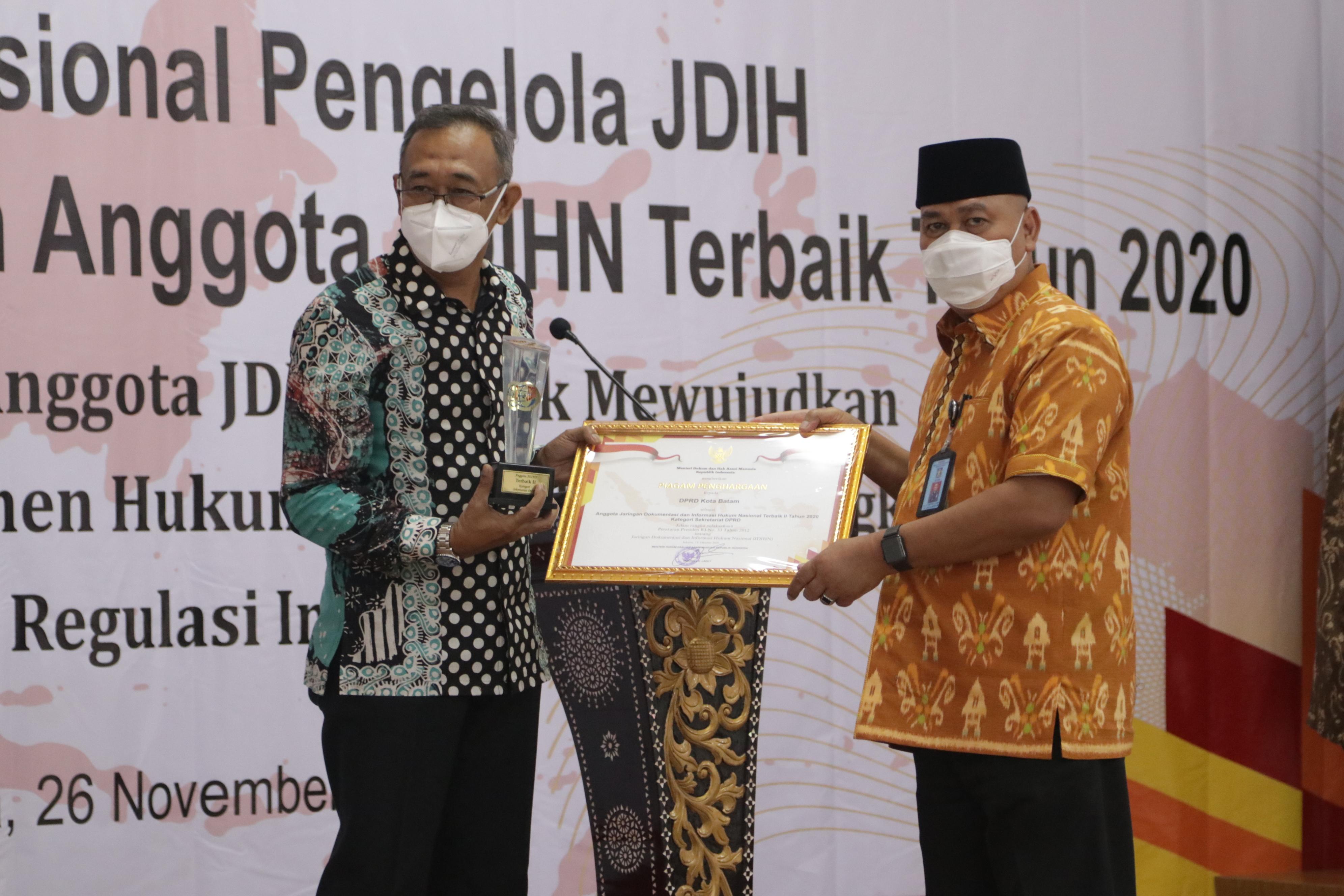 JDIH Setwan DPRD Kota Batam Menjadi JDIH Terbaik II Nasional